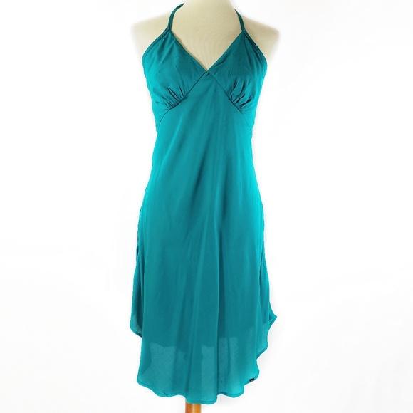 af243e1e3ed Oakley Teal Halter Tie Summer Dress Sz Medium